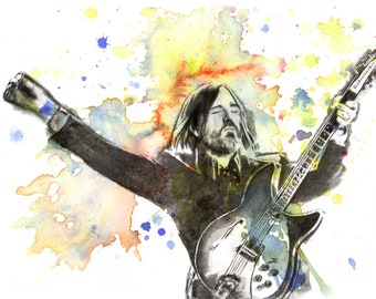 Tom Petty Art Poster Watercolor Painting Tom Petty Painting Music Room Wall Art Decor Tom Petty Poster Art