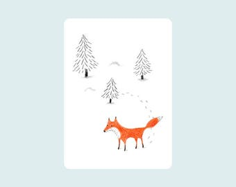 Fox in the snow, Illustrated card, postcard,
