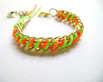 Neon chunky chain bracelet orange green neon - Fabulous you - trendy neon orange green golden chains hot friendship bracelet