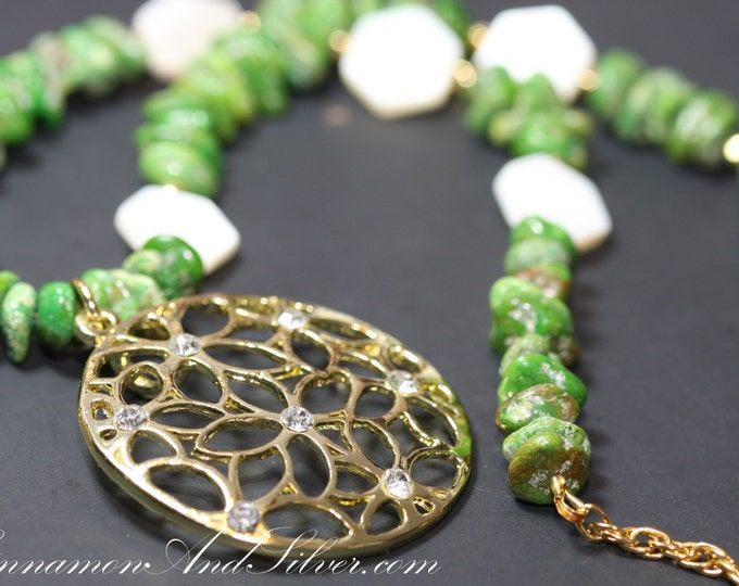 Apple Green Dyed Magnesite Stone and Mother of Pearl Shell Beaded Pendant Necklace, Stone Shell Rhinestone Green and Gold Statement Necklace