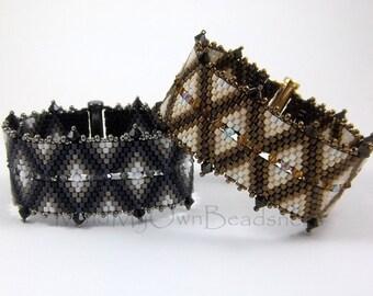 Beading Pattern - DIAMONDBACK Bracelet - Peyote Stitch Tutorial