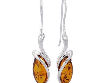 "Sterling Silver and Baltic Fish Hook Honey Amber Earrings ""Gemma"""