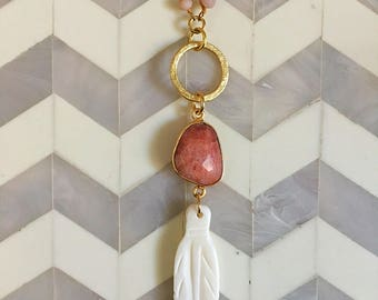 Bohemian Feather and Peach Moonstone Pendant Necklace