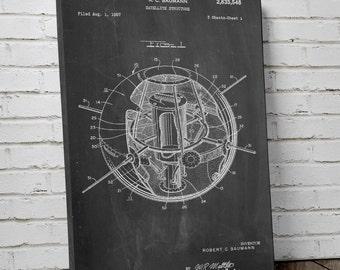 Earth Satellite Patent Canvas Art, Space Canvas, Outer Space Wall Art, NASA, Canvas Wall Decor, PP0526