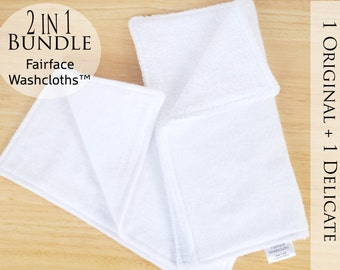 Softest Face cloths for Sensitive Skin Care 2-in-1 combo pkg - Soothing, Gentle for Rosacea, Eczema, Psoriasis, Fairface™ Washcloths 2-in-1