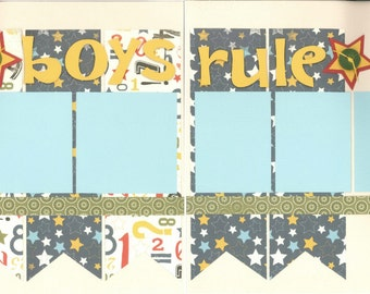 12x12 BOYS RULE scrapbook page kit, premade BOYS scrapbook, 12x12 premade page kit, premade scrapbook pages, 12x12 scrapbook layout