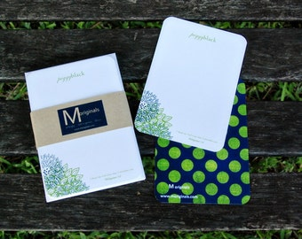Personalized w/ Bible Verse Notecard Set - Set of 8 - Blue & Green Flowers