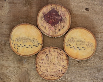 SET of Four Harry potter coasters. Marauders Map design Moony, wormtail padfoot and prongs wooden log coasters.