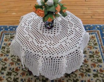 dollhouse, miniature silk crochet table cover, IGMA artisan