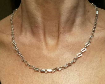 Hand made 925 silver oval and rectangle chain necklace, bracelet  set