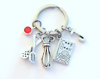 Cooking GIft for Culinary Student Keychain, Pastry Chef Key Chain, Whisk Spatula Book Keyring Initial letter Silver Baking Charm Mothers Day