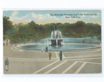 UNUSED Bethesda Fountain and Lake, Angel of the Waters, Central Park New York City Tinted Halftone  Postcard Unused