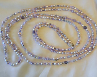 "SALE Shades Of Purple Shades of Violet Pearls and Swarovoski Crystals Square Bicone Crystals,  90"" Long Necklace Different Shapes of Pearls"