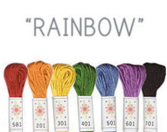 Sublime Stitching Embroidery Floss Set - Rainbow -Rainbow Thread Embroidery Thread -Embroidery Cottons 6-ply floss skeins -Colorful floss
