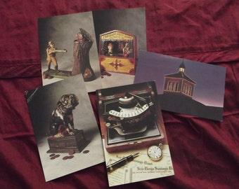 Set of Five 5 Vintage Postcards - Vintage Postcard - Antique Bank Banks