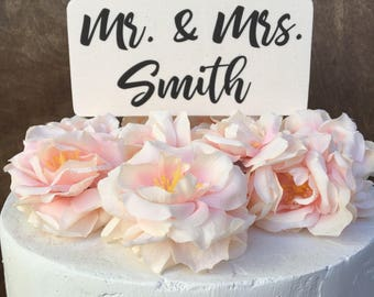 Mr. & Mrs. Cake Topper Banner Wood Cake Topper Rustic Country Shabby Chic Cake Topper Names Cake Topper Personalized Cake Topper Anniversary