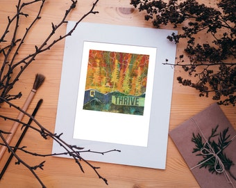 Thrive Outdoor Mountain Collage Art Print 8x10