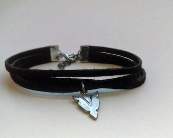 Black Leather Bracelet with Arrowhead Charm