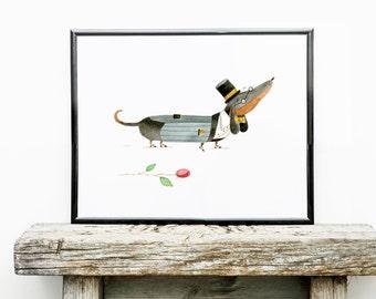 Dapper Dachshund Art Print | Dog Wall Art | 8x10 Illustration | Kid's Room Decor