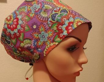 Women's Surgical Cap, Scrub Hat, Chemo Cap, Flower Power