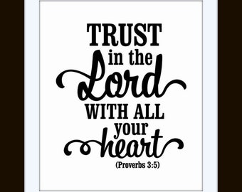 Trust in The Lord With All Your Heart Vinyl Wall Quote Vinyl Wall At Decal Proverbs 3:5
