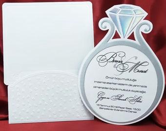 Unique invitations etsy unique wedding ring invitation engagement invitations stopboris Choice Image