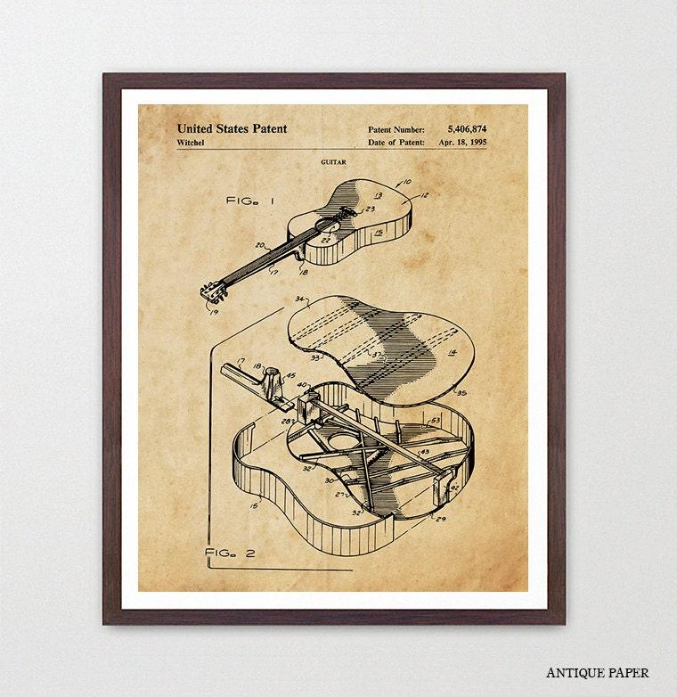 Guitar Patent - Acoustic Guitar Poster - Guitar Patent - Guitar Art ...
