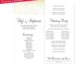 50qty Gold Wedding Programs- Gold Wedding Ceremony Programs- Gold Programs- Gold Wedding- Order of Service- Wedding Program Template