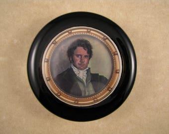 Austen Paperweight, Darcy Paperweight, Darcy Portrait, Pride and Prejudice, Round Paperweight, Glass Paperweight, Under 30 Dollars