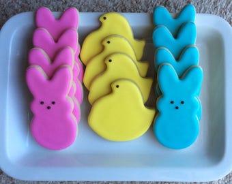 One Dozen Easter Peeps Sugar Cookies