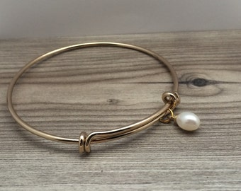 Cultured Freshwater Pearl Charm Gold Plated Bangle, pearl bangle, gifts