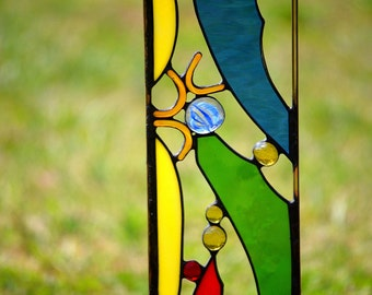 Glass Garden Sculpture, Stained Glass Yard Art, 'Cheers'