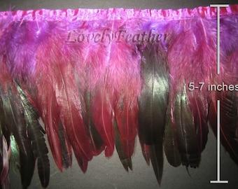 Coque feather fringe purple irridescent 1 feet trim