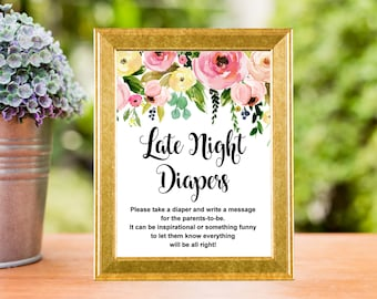 Late Night Diapers Sign Printable, Spring Floral Baby Shower Activity, Diaper Thoughts, Diaper Message Game, Instant Download, C37
