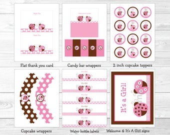 Pink Ladybug Baby Shower Party Package / Ladybug Baby Shower Decorations / Pink & Brown / Printable INSTANT DOWNLOAD A217