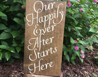 Our Happily ever after starts here wood sign