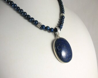 Sterling Mounted Blue Lapis Pendant on Lapis Necklace
