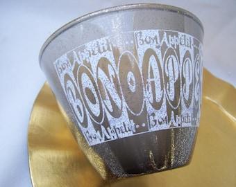 Bon Appetit Snack Bowl Mid Century Gold White Serving Retro Mad Men