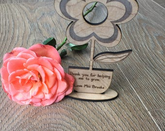 Personalised Teacher Flower Engraved Gift, Thank you, School, End of term