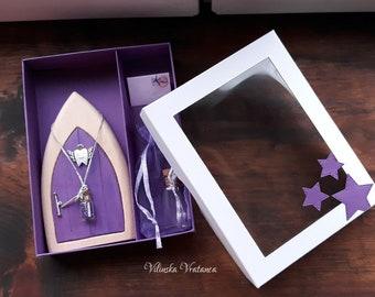 Purple Tooth Fairy Kit | Toothfairy Door | Handmade Solid Wood Fairy Door | Baby Tooth Gift | Unique Gift | Wall Decor