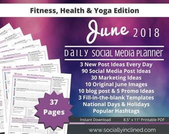 Social Media Planner - Fitness Coaches - 10 JUNE Images, 90 post ideas, 30 marketing tips, 10 blog post & 5 promo ideas - Beachbody coaches