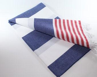 Ibiza | Navy Beach Towel | Red | Peshtemal Towel | Turkish Beach Towel | Sarong | Navy Turkish Towel | Beach Blanket | Beach Towel | Summer