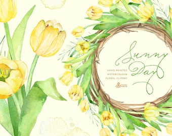 Sunny Day Wreath & Bouquet Tulips Flowers Clipart. Handpainted watercolor, wedding, spring floral, invitations, greetings, frames, yellow