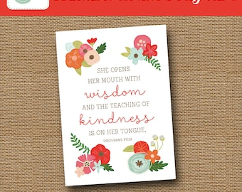 Printable Mother's Day Card   Floral Mom Card   Scripture, Bible Verse Card   DIY PRINTABLE   Proverbs 31 Card For Moms   Instant Download