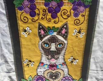 """Hand Embroidered Wool felt applique wall hanging """"Siamese Cat Under the Grape Arbor, with Bees"""""""