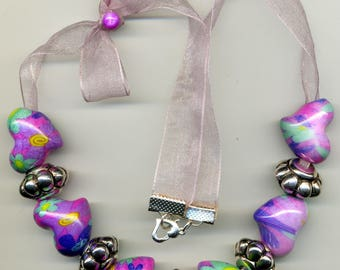 "Fancy ORGANZA ""Hearts"" necklace inside out"