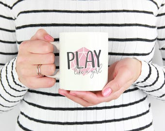 Dungeons and Dragons | Play like a Girl| Mug - Pink, DnD, RPG, Gamer, D&D