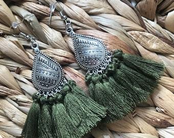 Ethnic earrings ice Green Khaki