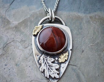 Leaf Necklace, Red Tiger Eye Gemstone, Botanical Jewelry, Artisan Necklace, Sterling Silver and Brass, Fall Necklace, Oak Leaves