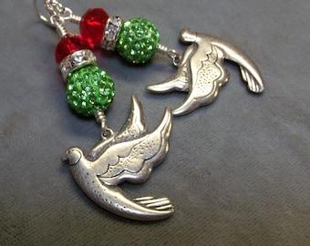 Pewter Crystal Beaded Earrings-Pewter Doves-Artisan Art Beaded Earrings-Christmas Earrings-Victorian Earrings-SRAJD